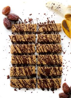 Kid friendly, allergy free banana and date granola bars. Nut free, gluten free, dairy free....Actually, fast + easy + chocolate is more like it.