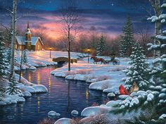 This is our 2013 Christmas canvas print release through Infinity Fine Art! Winter Scene Paintings, Christmas Paintings, Christmas Scenes, Christmas Art, Winter Szenen, Country Scenes, Thomas Kinkade, Holy Night, Winter Landscape