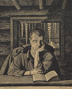 "Rockwell Kent ""Books Make the Home!"" Woodcut Print. I love Rockwell Kent. http://www.liveauctioneers.com/item/1735681"