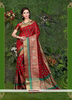 Superb Maroon Embroidered Work Casual Saree