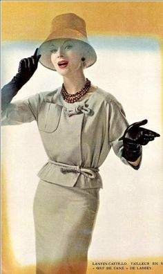 1960 Model in silk shantung suit by Lanvin-Castillo, photo by Georges Saad