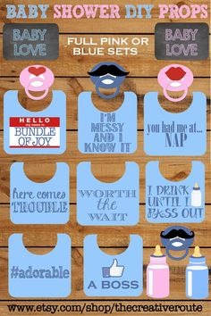 Boy Baby Shower Ideas- Funny Photo Booth Props Printable Set by TheCreativeRoute, $4.00 #boy-baby-shower-props # boy-baby-shower-photo-booth #Baby-shower-ideas