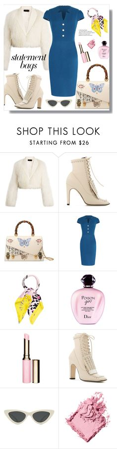 """""""Statement bag"""" by jelena031 ❤ liked on Polyvore featuring Haider Ackermann, Sergio Rossi, Gucci, WithChic, Christian Dior, Clarins, Le Specs, Bobbi Brown Cosmetics and statementbags"""