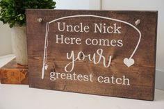 Here comes your greatest catch sign. Fishing themed wedding. Fishing wedding prop. Wedding sign. Wood sign. Wedding decor. by Bridges2You on Etsy