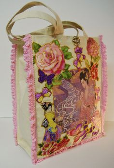 Pink Lady Tote Bag Custom Hand Painted Canvas Fabric by paulagsell, $46.00