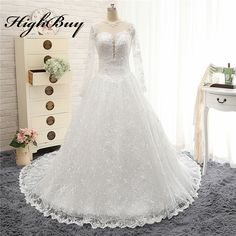 HighBuy Hot Ball Gown Long Sleeves Lace Wedding Dresses Sheer Back Plus Size Court Train Church Bridal Gowns Vestido de noiva ** AliExpress Affiliate's buyable pin. Detailed information can be found on www.aliexpress.com by clicking on the image