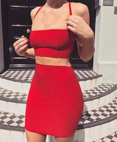 Our 'Ralph' two piece set in bright red // www.boomboomthelabel.com Little Red Dresses, dress, clothe, women's fashion, outfit inspiration, pretty clothes, shoes, bags and accessories
