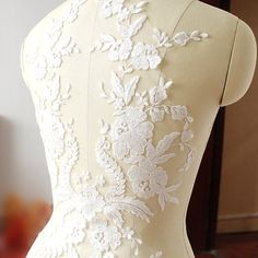 Lace Applique,  embroidered bodice lace applique, lace bodice for bridal dress altering