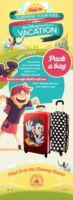 How to surprise your kids with a Walt Disney World Vacation. And in true Disney fashion the link takes you right to where you can buy Disney luggage. Authorized Disney Vacation Planner, Disney World Vacation Planning, Walt Disney World Vacations, Disney Planning, Disney World Tips And Tricks, Disney Tips, Disney Magic, Disney World Quotes, Disney Luggage