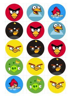 angry birds 1 inch bottle cap template - Google Search