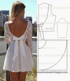 Para fazer o molde deste vestido de tecido e renda branco siga o passo a passo em baixo.este trabalho tem o propósito de ajudar quem tem menos...