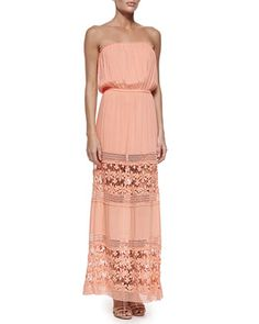 Charlotte Strapless Maxi Dress, Peach/Sun Lace  at CUSP.