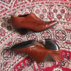Vintage Conagc Leather pointy toe bootie 7B great Condition with some wear - they have been newly re-soled but need new insoles. they are super cute and priced to SELL! size 7B Vintage Shoes Ankle Boots & Booties