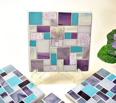 Stained glass mosaic coaster set purple by threesisterscandles