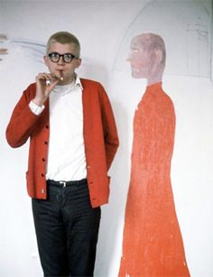 David Hockney in front of the Hypnotist taken by Snowden