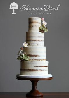 Semi-Naked Wedding Cake by Shannon Bond Cake Design - http://cakesdecor.com/cakes/230198-semi-naked-wedding-cake