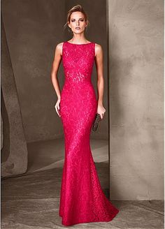 Gorgeous Lace & Satin Bateau Neckline Sheath Evening Dresses