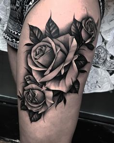 "Bobby Loveridge on Instagram: ""Big piece for sarah today! #tattoo #tattoos #tattooed #churchyardtattoo #fkirons #worldfamousink #rose #rosetattoo #roses #blackandgrey…"""
