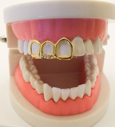 Details about Gold Plated Mouth Grills Grillz Cap - Open Face covers 3 Teeth - Site Title Open Face Grillz, Gold Teeth Grillz, Gold Tooth Cap, Tooth Gem, Mouth Grills, Grills Teeth, Girl Grillz, Diamond Teeth, Diamond Grillz