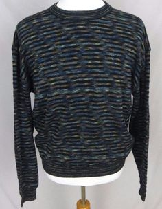 Jhane Barnes Sweater XL Abstract Colorful Wool Woven Crewneck Striped Pullover #JhaneBarnes #Crewneck