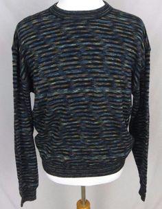Jhane Barnes Sweater XL Abstract Colorful Wool Woven Crewneck Striped Pullover #JhaneBarnes #Crewneck