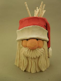 Hand Carved Wood Santa Toothpick Holder by CarvingsbyTony on Etsy, $40.00