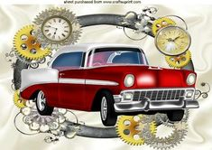 RED VINTAGE CAR IN CLOCK STEAMPUNK FRAME A4 on Craftsuprint - Add To Basket!