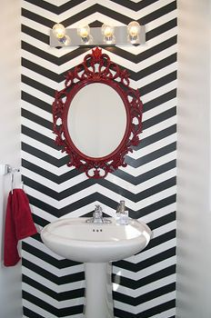 diy chevron bathroom, bathroom ideas, home decor, Accent wall and pop of red