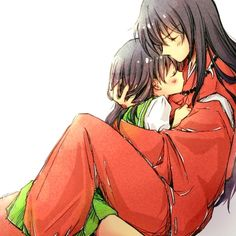 InuYasha in his human form sweetly holding Kagome - InuYasha; fan art