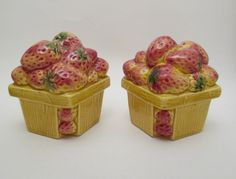 Vintage Enesco Strawberry  Salt Pepper Shakers by retrogal415