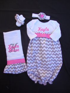Personalized Newborn/ Infant Chevron Take Me Home Gown with Matching Headband, Burp Cloth & ruffled socks (set of 4) (Gray and Pink Color) on Etsy, $47.00
