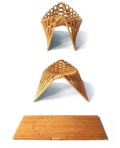 Product Design - Natural Wood Rising Furniture by Robert Van Embricqs Folding Furniture, Unique Furniture, Diy Furniture, Furniture Design, Folding Stool, Geometric Furniture, Flexible Furniture, Furniture Logo, Furniture Showroom