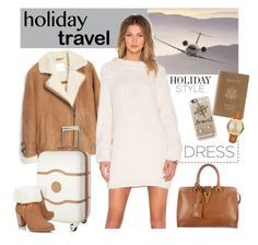 """""""Untitled #317"""" by veronica7777 ❤ liked on Polyvore featuring MANGO, AYNI, Delsey, UGG Australia, Royce Leather, Yves Saint Laurent, Casetify, Michael Kors, holidaystyle and oversizeddress"""