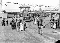 Groups alongside trams and a band rotunda, Christchurch, ca. Christchurch New Zealand, New Brighton, Street View, History, Band, Historia, Sash, Bands