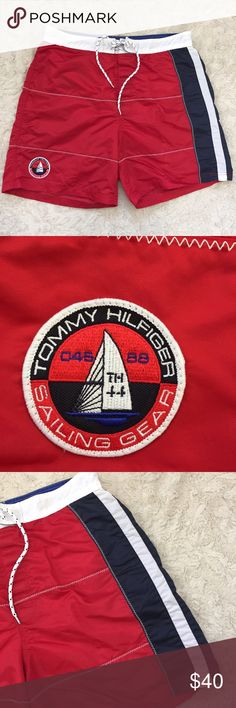 Tommy Hilfiger TH Sailing Gear Board Shorts Swim 100% nylon, lined, back pocket.  Measurements -in inches, taken flat and are approximate (double where appropriate): Length (Waist to hem) :19 Waist: 17 Tommy Hilfiger Swim Board Shorts