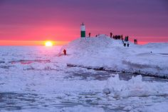 Winter Sunset over Lake Michigan in Holland, MI