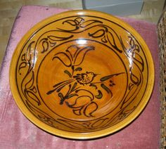 Large slipware bowl by John Christie, Pantasaph Pottery, Clwyd, Wales. Bought from the pottery in the 1970s.