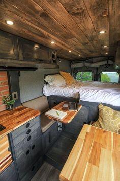 Van Conversion Interior, Camper Van Conversion Diy, Van Interior, Bus Living, Tiny House Living, Small Living, Vw Lt Camper, Kombi Home, Van Home