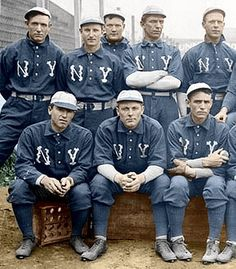 TEAM: 1903 New York Americans - The Yankees before they were called the Yankees. (Colorized photo). Blue uniforms.