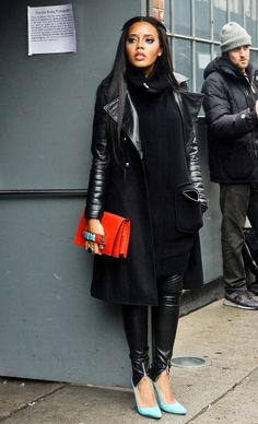 front-zip leather skinnies -- street style
