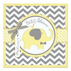 yellow and grey elephant baby shower invitations - Google Search