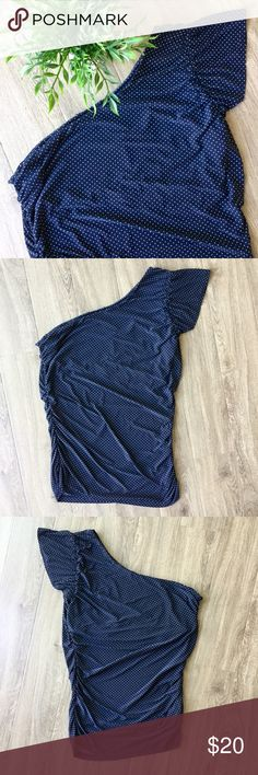 """🆕 The Limited one shoulder polka dot shirt Edgy and sophisticated one shoulder top calling for a girls' night out!  🐾 Sleeve on left shoulder 🐾 Navy with white polka dots 🐾 Rouching on sides 🐾 Shelf bra 🐾 Hanging straps in tact 🐾 Tags cut off 🐾 Bust: 16"""" 🐾 Length: 28"""" 🐾 Sleeve: 4"""" 🐾 94% polyester, 6% spandex 🐾 Machine wash, tumble dry 🐾 Excellent condition, worn twice  🐾 Bundle discount 🐾 No trades, no PP 🐾 Smoke free, pet friendly home The Limited Tops"""