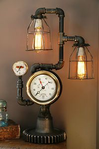 Steampunk Plumbing Gear Lamp Light Industrial Machine Age Salvage Steam Gauge | eBay