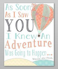 Winnie the pooh Hot Air Balloon 'Adventure' Print