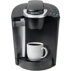 Keurig K55 Single-Serve Coffee Maker ($120) ❤ liked on Polyvore featuring home, kitchen & dining, small appliances, keurig coffee maker, single serving coffee machine, single serve brewers, coffee tea maker and tea brewer
