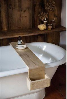 Jersey Ice Cream Co Shower caddy-bathroom, reclaimed wood, simple (Diy Bathroom Tray) Diy Bathtub, Bathtub Caddy, Bathtub Tray, Bathroom Tray, Bathroom Storage, Bath Trays, Bath Tub, Bathtub Board, Bathroom Ideas