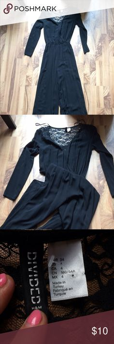 H&M long pantsuit Super cute! Black long sleeve pants jumpsuit, made by H and M. Thin and flowie with lace detail! Size 4 H&M Other