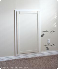 Custom door for hiding a water shut-off valve houseofsmiths.com #DIY