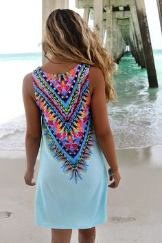 St. Martin Multi Color Feather Blue Shift Dress