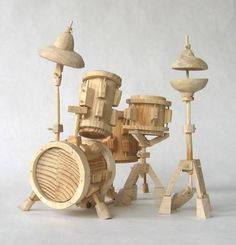 Wooden Miniature Drum Set. #music #drums http://www.pinterest.com/TheHitman14/music-paraphernalia/